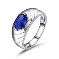 Mens Jewelry Solid 14k White Gold Real Natural Oval 6x8mm Blue Tanzanite Ring