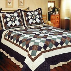 Country Treasures Patchwork Twin Bed Quilt. Patchwork Star Floral Quilt