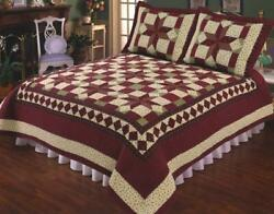 2pc Scarlet Patchwork Twin Bed Quilt. Bedding Package Set. Star, Floral