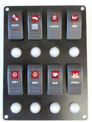Switch Panel 8 Carling Contura Rocker Switches With Breakers Black Horn Switch