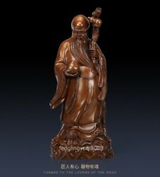 Chinese Temple Red Copper Immortal God Of Longevity Lucky Old Man Buddha Statue
