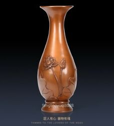 Chinese Red Copper Engraved Pattern Lotus Flower Leaf Vase Holy Water Bottle Pot
