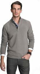 State Cashmere Button Up Mock Neck Sweater 100% Pure Cashmere Long Sleeve Polo Q
