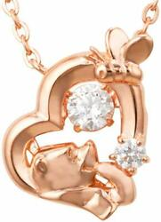 Winnie The Pooh Sterling Silver 925 Pink Gold Necklace Zirconia Pendant Japan