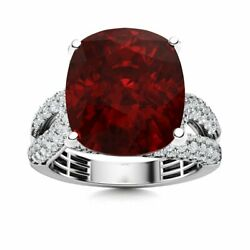 Certified 6.35 Carat Natural Red Garnet And Si Diamond Solid 14k White Gold Ring