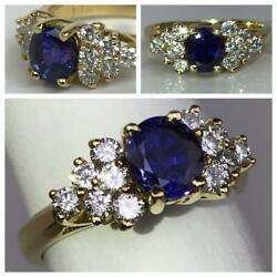 Vintage Purple-to-blue 1.3cts Sapphire Diamonds 18k Gold Ring Color Changing