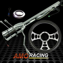 Chrome 28 Auto Steering Column No Key And 14 Steering Wheel And Smooth Horn Button