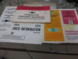 1974 Original Corvette Owners Manual Package With Full Mail In News Card