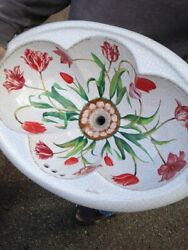 Rare Preowned Kohler Artist Edition Drop-in Sink Fables And Flowers K-14173 Tulips