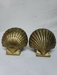 Vintage Brass Nautical Seashell Clam Shell Bookends Thick And Heavy Pm Philadelp