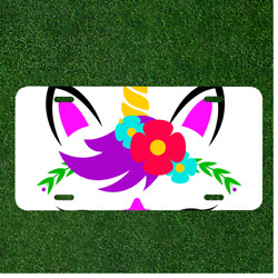 Custom Personalized License Plate Auto Tag With Cartoon Rabbit Ears Flower Art