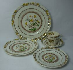 Spode China Buttercup Original Brown Backstamp 5-piece Place Setting Tall Cup