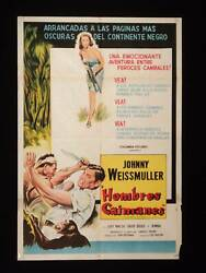Cannibal Attack 1954 Johnny Weissmuller Argentine 1sh Movie Poster Rr