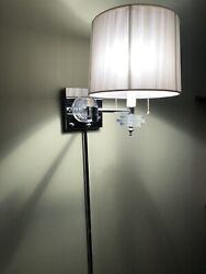 Pair Of Mid Century Modern Stacked Lucite Swing Arm Wall Sconce Lamps