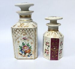 Antique French Porcelain Tea Caddies Old Paris Gold And Hand Painted Flowers