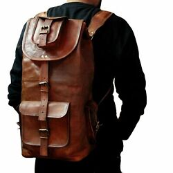 New Large Travel Bag Genuine Leather Back Pack Rucksack For Men#x27;s and Women#x27;s. $56.99
