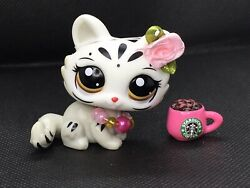 Mini Pet Shop Toy Tiger Crouching Cat With Accesorios Nice