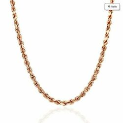 14k Solid Rose Gold 4mm Diamond Cut Rope Chain Necklace 18-30