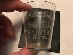 Shortell And Timmins, Green Mountain Rye Vintage Etched Shot Glass