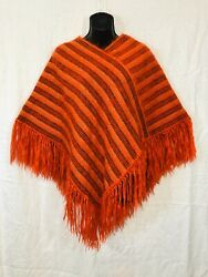 Vintage Alpaca And Mohair Wool Poncho Womens Orange Stripe Fringed Hand Woven