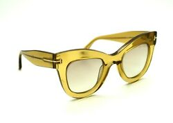 D0 NWOT Auth TOM FORD Karina 02 TF612 45G Transparent Amber Mirrored Sunglasses