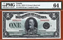 Dominion Of Canada 1 Dc-25n 1923 Series 'd' Pp 'c' Pick-33nj Pmg 64 Ch Unc