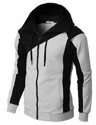 Mens Casual Slim Fit Hoodie Active Jackets Zipper Closer With Pockets Color