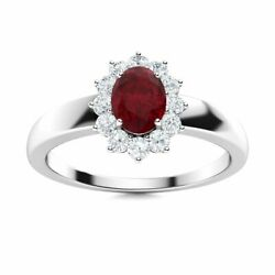 Certified 0.82 Carat Natural Aaa Ruby And Diamond 14k Solid White Gold Halo Ring