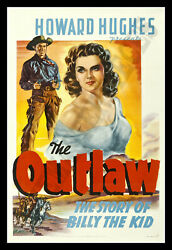 THE OUTLAW ✯ CineMasterpieces 1941 JANE RUSSELL ORIGINAL MOVIE POSTER HOLLYWOOD