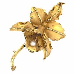 Brooch 18k Yellow Gold Lily Flower With Pearl Pin Pendant - Estate Jewelry