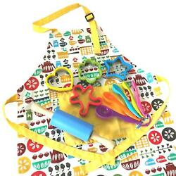 Daju Kids Apron And Cooking Set - Childs Apron Cookie Cutters Mini Rolling ...