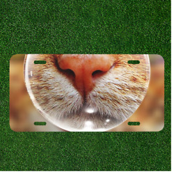 Custom Personalized License Plate Auto Tag With Close Up Of Cat Nose Design