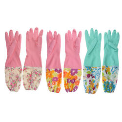 Rubber Latex Dish Washing Cleaning Warm Long Gloves Household Kitchen Tools