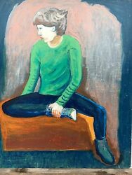 Young Man With Green Sweater - Expressive - 61 X 51