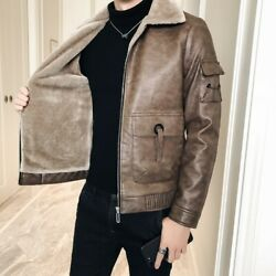 Winter Mens Leather Bomber Jacket Fleece Lined Outwear Cargo Pocket Warm Outdoor