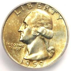 1959-d Washington Quarter 25c - Certified Icg Ms67 - 880 Guide Value In Ms67