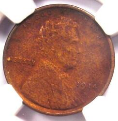 1914-d Lincoln Wheat Cent 1c - Certified Ngc Au Details - Rare Key Date Penny