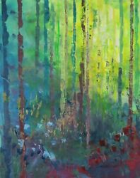 Painting Landscape Signed 20x16 Forest Blue By Stevethepaintist Of Connecticut