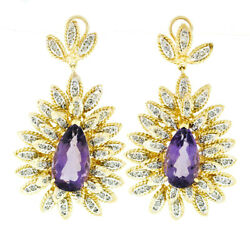Vintage 14k Two Tone Gold 23ctw Pear Amethyst And Diamond Huge Statement Earrings