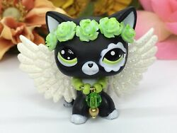 Mini Pet Shop Custom Black Cat With Wings And Accessories