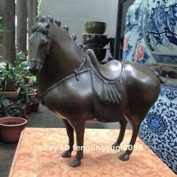 Chinese Pure Bronze Feng Shui Animal Horse Tang Steed Animal Art Deco Sculpture
