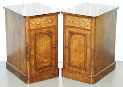 PAIR OF COLLINGE'S VICTORIAN BURR WALNUT BED SIDE LAMP TABLES CUPBARD DRAWERS
