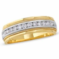 Mens 1/2 Ct Natural Diamond Channel Milgrain Band In 14k Two Tone Gold