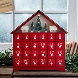 Lights4fun Inc. Pre Lit Red Wooden Christmas Advent Calendar Decoration with