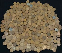 Andnbspwheat Pennies -andnbsp 1906 - 1958 Copper Pennies Over 10lbs. Plus Many Foreign Coins