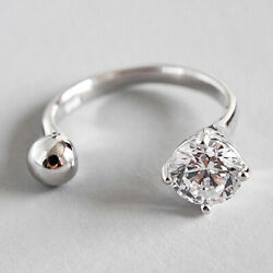 Unique Design Solid 925 Sterling Silver Ball Zircon Open Ring for Women Jewelry