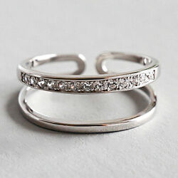 Solid 925 Sterling Silver Double Layer Line Open Rings for Women F