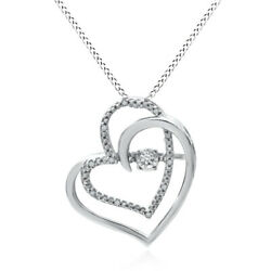 Round Natural Diamond Double Heart Pendant In Sterling Silver Valentine Gifts