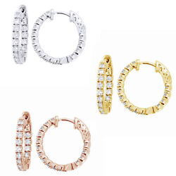 1.50 Ct Inside Out Real Diamond Hoop Earrings 14k Solid Gold Vintage Style