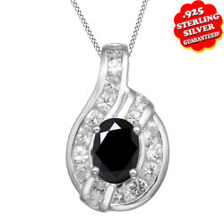 2 Ct Round Cut Onyx Birthstone 14k Gold Over Pendant W/chain Necklace